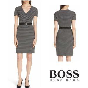 Hugo Boss Hedra Black and White Striped Dress